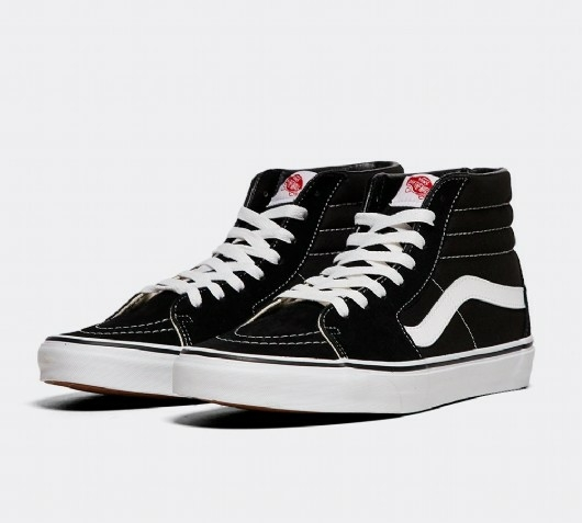 Black and white Vans SK8-Hi