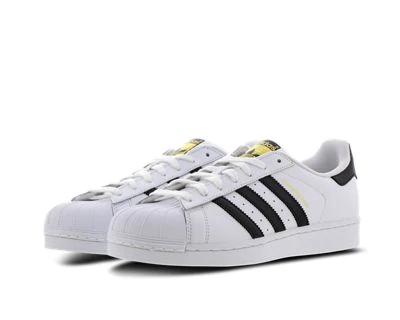 White and Black adidas Superstar
